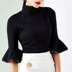 Retro Style 3/4 Sleeve Turtleneck Slimming Solid Color T-Shirt For Women (BLACK,L) | Sammydress.com Mobile