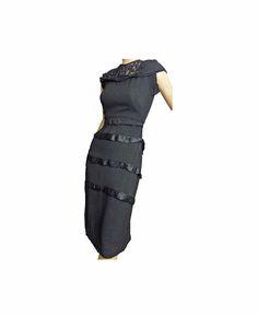 Black Cocktail Dress Vintage 50s Dress Rayon Crepe With Belt