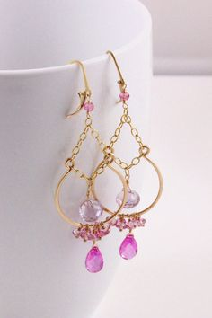 Hot Pink Quartz Earrings Pink Amethyst Earrings Pink Topaz