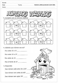 Atividades de Matemática 2º ano - Números vizinhos School Frame, Health And Fitness Articles, Preschool Activities, Bullying, Professor, Bullet Journal, Education, Math Worksheets, Infant Learning Activities