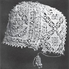 "Italian, 16th Century  Plate 142: ""Cap in cut linen and embroidery with needle-made cord and tassels. The little points are bobbin-made.""  From Ricci, Elisa - Old Italian Lace Vol I, William Heinemann, 1913"