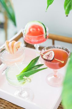 Four seasonal takes on the classic Daiquiri: watermelon, fig, peach, and pineapple. 2 oz white rum 1 oz lime juice oz simple syrup One of the above fruits Rum Cocktail Recipes, Cocktails To Try, Easy Drink Recipes, Summer Cocktails, Cocktail Drinks, Delicious Recipes, Daiquiri, Mojito, Strawberry Daquiri