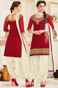Radiant Rust Red Party Wear Patiala Suit