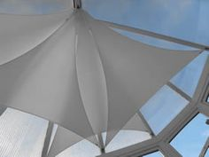 Conservatory Shading available in a range of sails, effectively shading your conservatory roof, atrium or glazed space. Manufactured from an exclusive high performance fabric Conservatory Roof Blinds, Blinds Ideas, Conservatories, Ceiling Ideas, Blinds For Windows, Atrium, Outdoor Gear, Lantern, Party