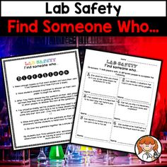 "This is a ""Find Someone Who"" activity to review lab safety. There are 12 problems in total. My students love this because it gets them up & moving!Your download will include:-directions-a double sided ""Find Someone Who"" worksheetOther Find Someone Who activities you may be interested in:Balancing Equations Find Someone WhoScientific Method Find Someone WhoOther Lab Safety products you may be interested in:Lab Safety Task CardsSafety Game"