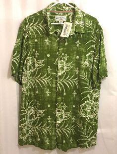 Margaritaville NWT Hawaiian Shirt Size XL Green Floral #Margaritaville #ButtonFront