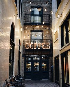 Painted brick or shiplap on inside wall Cafe Bar, Cafe Restaurant, Cafe Industrial, My Coffee Shop, Coffee Shops, Latte, Destinations, But First Coffee, Cafe Design