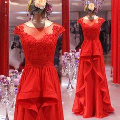 YIMISTYLE custom made cap sleeve red lace and chiffon long prom dress evening dress bridesmaid dress