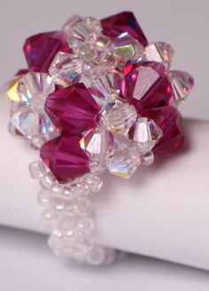 Swarovski beaded ring - fuschia and clear AB