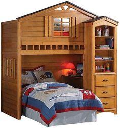 Childrens-Tree-House-Rustic-Oak-Wood-Twin-Bunk-Loft-Bed-with-Desk-Shelf-Cabinet