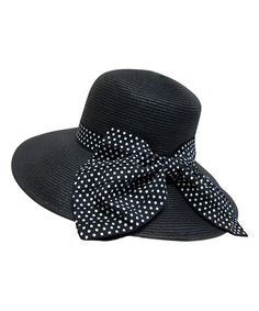 Love this Boardwalk Style Black Polka Dot Bow Wide-Brim Sunhat by Boardwalk  Style on deafbb11db54