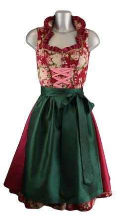 Wunderschönes, neu designtes Stehkragen Baumwolldirndl von Ellersdorfer Design in einem dunklen kühlen Rotton mit dunkelgrüner Schürze. Dieses edle Dirndl besticht durch Eleganz und Schlichtheit kombiniert mit einem wunderschönen Baumwollstoff in Blumenmuster. [Unser Preis: 489,00€]