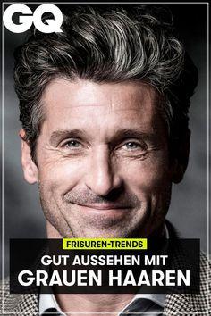 Graues Haar? Ja, bitte! Wir sagen Ihnen, wie Sie mit ersten grauen Strähnen oder auch einem kompletten Silber-Look gut aussehen. #haare #hairstyle #greyhair #grauehaare #grau #mann #men #style #gq #gqgermany Gq, Trends, Hair Styles, Movie Posters, Movies, Outfits, Curly Hair Men, Hairstyles For Curly Hair, Ringlets Hair