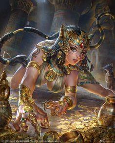 Fantasy Girl, Fantasy Female Warrior, Fantasy Art Women, Dark Fantasy Art, Anime Egyptian, Egyptian Art, Egyptian Goddess, Fantasy Character Design, Character Art