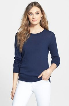 Halogen® Zip Back Crewneck Sweater (Regular & Petite) available at #Nordstrom