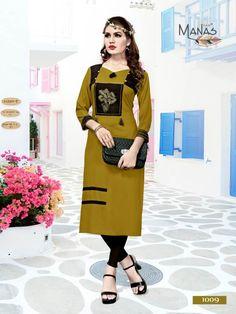 Manas presents swara vol 2 casual ready to wear kurtis concept Kurta Designs, Blouse Designs, Modele Hijab, Kurti Patterns, Edwardian Dress, Indian Designer Wear, Designer Dresses, Designer Kurtis, Traditional Outfits