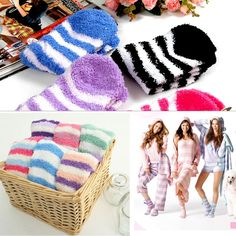 Womens Girls Bed Socks Striped Pure Color Fluffy Warm Winter Kids Gift Soft CC
