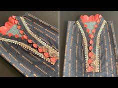 Saree Blouse Neck Designs, Kurta Neck Design, Neckline Designs, Dress Neck Designs, Stylish Dress Designs, Diy Embroidery Patterns, Hand Embroidery Dress, Kurti Embroidery Design, Ribbon Embroidery