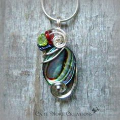 Rainbow Iridescent Abalone Shell Wire Wrapped Pendant Necklace by CareMoreCreations.com, $29.00