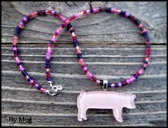 4H show pig hand painted  fused glass pendant with by hopthefence, $35.00