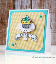 Wanda Guess: A Blog Called Wanda - Papertrey Ink March 2015 Blog Hop! Aqua and yellow birthday cards! - 3/25/15.  (PTI: Baker's Dozen stamps/ dies; Cake Plate die),