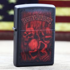 c82fb1ce3950 Zippo Harley Davidson Black Matte With Red Skulls Lighter Dupont Lighter,  Bic Lighter, Zippo
