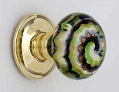 Artisan glass knob chocolate lime swirls by Merlin Glass