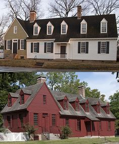 The Davenport House before (top) and after the repainting.