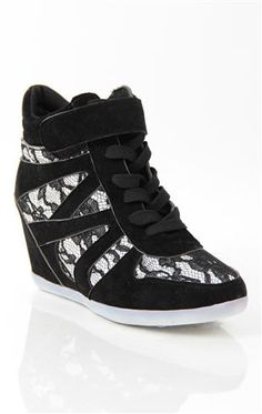 Deb Shops #sneaker #wedge with #lace print $35.90