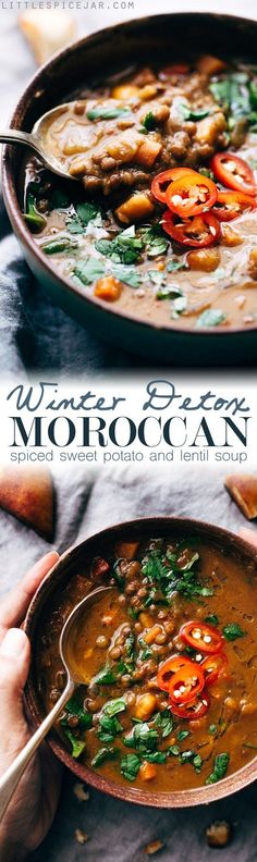 Winter Detox Moroccan Sweet Potato Lentil Soup - an easy, vegetarian detox soup that's loaded with tons of veggies, lentils, and sweet potatoes to keep you full! Light on the calories too! #moroccansoup #soup #lentilsoup #slowcooker | http://Littlespicejar.com