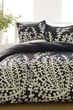 City Scene Branches Mini Duvet & Sham Set - Black - Full/Queen by Tommy Hilfiger and City Scene