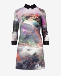 Rainbow waterfall collared dress - Mid Green   Dresses   Ted Baker AU