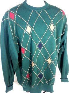 Vintage Clark & Gregory #Scotland Green Plaid #Cotton V Neck #ChristmasSweater XL #ClarkGregory #VNeck