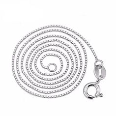 Italian box chain necklace unisex pure 925 solid sterling silver 0.8 1mm  40cm  45 cm