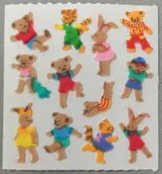 Playful Teddies and Bunnies Vintage Sandylion Fuzzy Mini Stickers Mod - Teddy Bear Cat Kitten Kitty Bunny Rabbit Dress Up Collectible The Bear Family, Dancing Animals, Doodle Characters, Cute Stickers, Cartoon Art, Cats And Kittens, Childhood, Stationery, Artsy