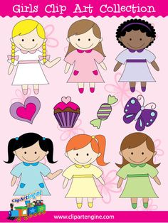 Girls Clip Art - Purchase this for only $4.99 when you repin/share. Use the offer code: SHARE Includes black and white line art.