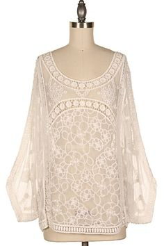 FLORAL SHEER LACE SEE-THROUGH TOP.  #19A-179