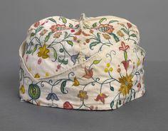 Smoking cap 1700-1725 (ENGLAND) Mediumlinen, silk thread