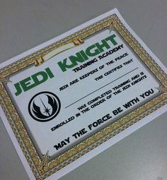 Star Wars Jedi Knight Training Academy Certificate digital print - birthday party