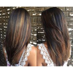 Long Straight Chocolate-Brown Hair with Cinnamon Balayage and Chunky Layers