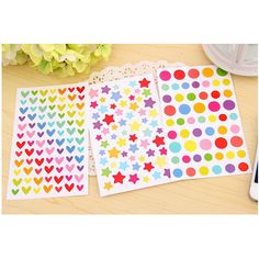6 Sheets Colorful Dots Heart Star Student Stickers Decor Craft Stick Label Phone Board Decorative DIY Sticker Kids Stationery #Affiliate