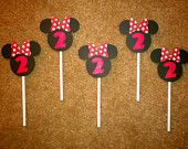Set of 15 - Minnie Mouse Birthday Cupcake Toppers- Mickey Mouse - DIY creations - Customizable