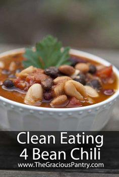 Clean Eating Recipes | Clean Eating 4 Bean Chili..
