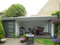 Tuinhuis met overkapping 22 - Van der Heijden Buitenleven Garden Studio, Bungalow, House Plans, Porch, Shed, Woodworking, Outdoors, Exterior, Gardening