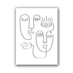 Minimalist Continuous Face Line Sketch Art Duo - A4 21x30 cm No Frame / PB2671