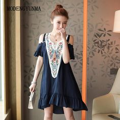 2a420052037 MODENGYUNMA 5XL Embroidery Summer Maternity dress cotton Pregnancy Clothes  For Pregnant Women Gravidas big size Maternity