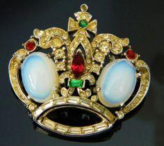 Vintage RARE Coro Craft Crown Moonstone Rhinestone Brooch Pin Corocraft | eBay