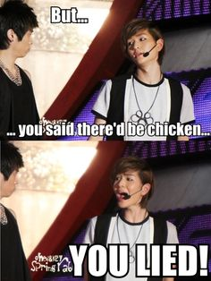 """Onew and Chicken! Ahaha. Remember on Shinee's Hello Baby when they asked if he liked Yoogeunie or chicken better? He answered, """"Chicken!,"""" almost immediately."""