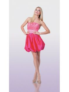 Taffeta Strapless A-Line Skirt Rouched Bodice Cocktail Dress