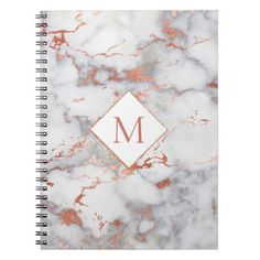 rose gold monogram on marble texture notebook - marble gifts style stylish nature unique personalize